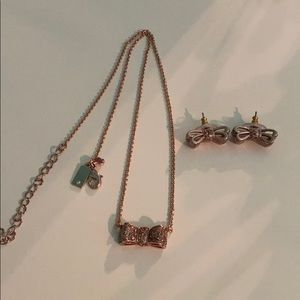 Kate Spade Rose Gold Glitter Bow Necklace Earrings